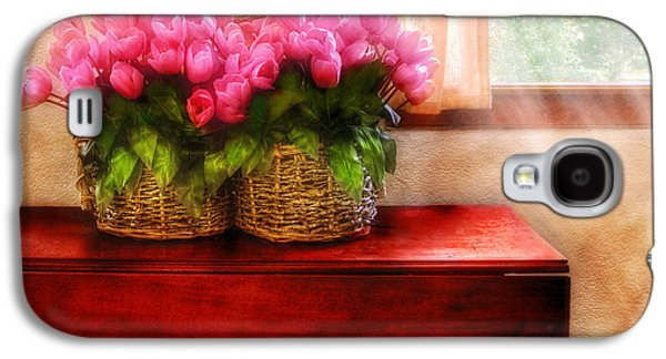 Mahogany Red Galaxy S4 Cases - Flower - Tulips by a Window Galaxy S4 Case by Mike Savad