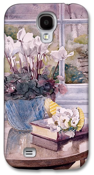 """indoor"" Still Life Photographs Galaxy S4 Cases - Flowers And Book On Table Galaxy S4 Case by Julia Rowntree"