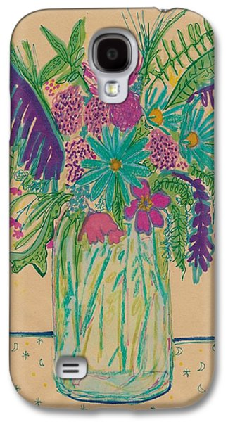 Nature Study Mixed Media Galaxy S4 Cases - Flowers and Moons Galaxy S4 Case by Rosalina Bojadschijew