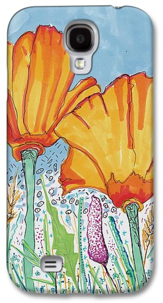 Nature Study Drawings Galaxy S4 Cases - Flowers and the sky Galaxy S4 Case by Rosalina Bojadschijew