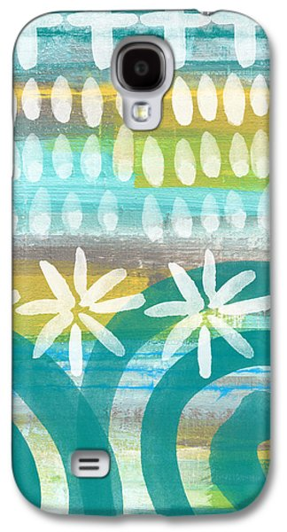Blue Mixed Media Galaxy S4 Cases - Flowers and Waves- abstract pattern painting Galaxy S4 Case by Linda Woods
