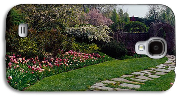 Garden Scene Galaxy S4 Cases - Flowers In A Garden, Ladew Topiary Galaxy S4 Case by Panoramic Images