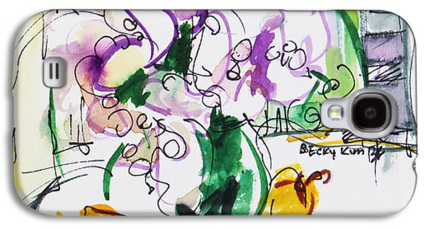 Loose Style Mixed Media Galaxy S4 Cases - Flowers in Green Vase Galaxy S4 Case by Becky Kim