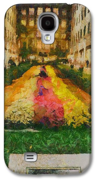 Nature Center Paintings Galaxy S4 Cases - Flowers In Rockefeller Plaza Galaxy S4 Case by Dan Sproul