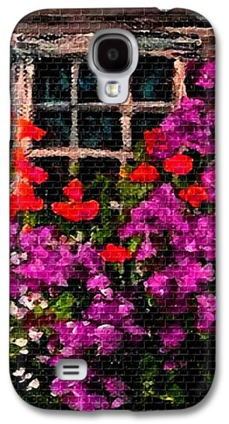 Abstract Digital Pastels Galaxy S4 Cases - Flowers Near a Window H b Galaxy S4 Case by Gert J Rheeders