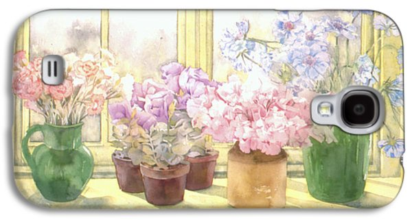 """indoor"" Still Life Photographs Galaxy S4 Cases - Flowers On The Windowsill Galaxy S4 Case by Julia Rowntree"