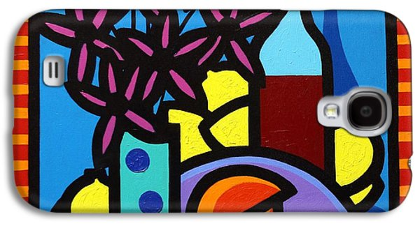 Wine Canvas Paintings Galaxy S4 Cases - Flowers Wine Lobster And Lemons Galaxy S4 Case by John  Nolan