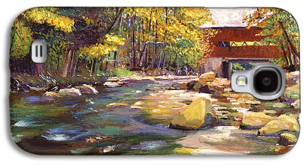 Covered Bridge Paintings Galaxy S4 Cases - Flowing Water At Red Bridge Galaxy S4 Case by David Lloyd Glover