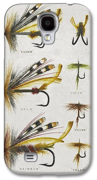 Flyfishing Galaxy S4 Cases - Fly Fishing Flies Galaxy S4 Case by Aged Pixel