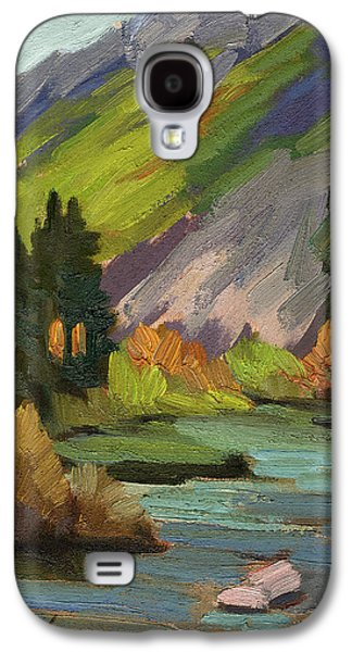 Waterscape Paintings Galaxy S4 Cases - Fly Fishing Pond Galaxy S4 Case by Diane McClary