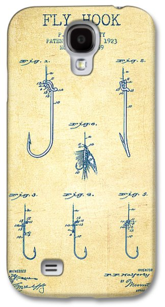 Reeling Galaxy S4 Cases - Fly Hook Patent from 1923 - Vintage Paper Galaxy S4 Case by Aged Pixel