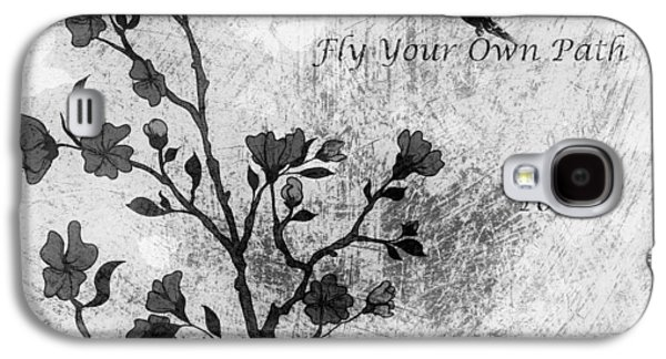 Cherry Blossoms Mixed Media Galaxy S4 Cases - Fly Your Way To Freedom Black and White Galaxy S4 Case by Georgiana Romanovna