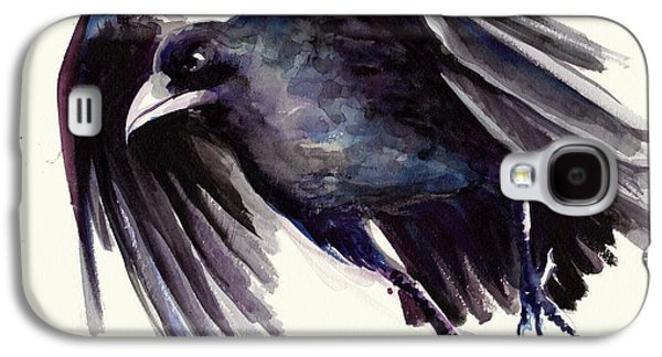 Sombre Galaxy S4 Cases - Flying Raven - Crow Painting Galaxy S4 Case by Tiberiu Soos