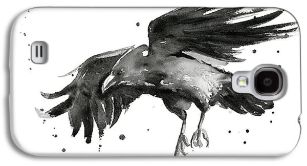 Crows Paintings Galaxy S4 Cases - Flying Raven Watercolor Galaxy S4 Case by Olga Shvartsur