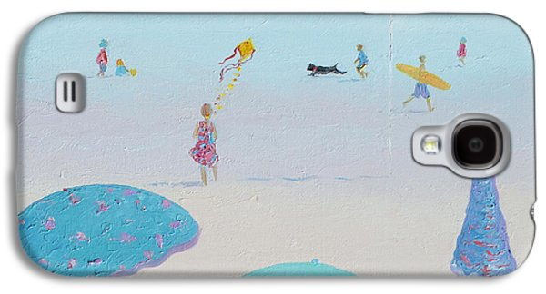 Flying The Kite - Beach Painting Galaxy S4 Case by Jan Matson