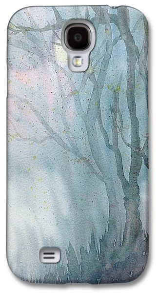 Park Scene Drawings Galaxy S4 Cases - Foggy Trees Galaxy S4 Case by Rebecca Davis