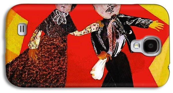 Folk Art Mixed Media Galaxy S4 Cases - Folk Dancers Galaxy S4 Case by Sarah Loft
