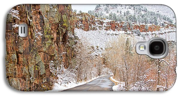 Landscape Acrylic Prints Galaxy S4 Cases - Follow the Red Rock Ridge Winter Road  Galaxy S4 Case by James BO  Insogna