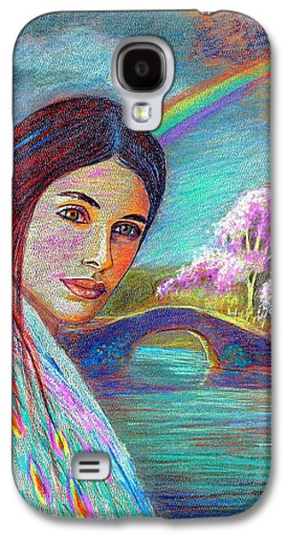 Native American Spirit Portrait Paintings Galaxy S4 Cases - Following the Rainbow Galaxy S4 Case by Jane Small