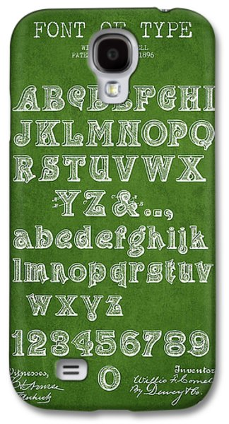Font Galaxy S4 Cases - Font of  Type Patent Drawing from 1896 - Green Galaxy S4 Case by Aged Pixel