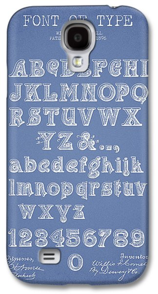 Font Galaxy S4 Cases - Font of  Type Patent Drawing from 1896 - Light Blue Galaxy S4 Case by Aged Pixel