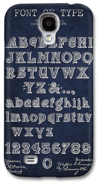 Font Galaxy S4 Cases - Font of  Type Patent Drawing from 1896 - Navy Blue Galaxy S4 Case by Aged Pixel