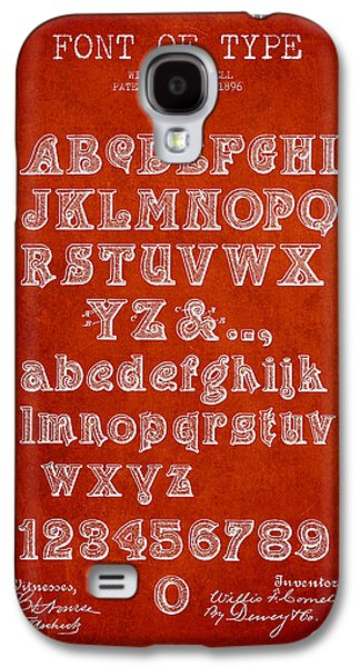 Font Galaxy S4 Cases - Font of  Type Patent Drawing from 1896 - Red Galaxy S4 Case by Aged Pixel