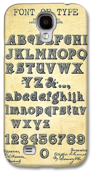Font Galaxy S4 Cases - Font of  Type Patent Drawing from 1896 - Vintage Galaxy S4 Case by Aged Pixel