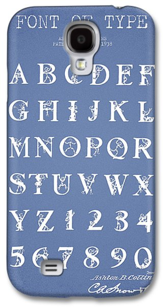 Font Galaxy S4 Cases - Font Patent Drawing from 1938 - Light Blue Galaxy S4 Case by Aged Pixel