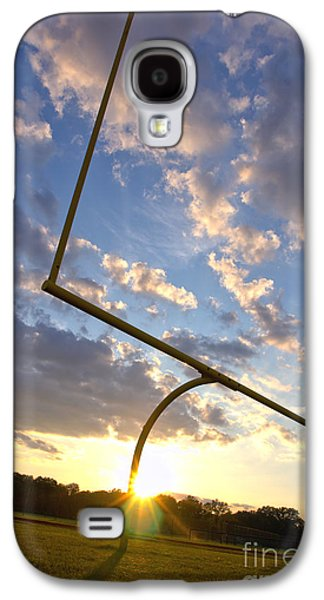 Football Photographs Galaxy S4 Cases - Football Goal at Sunset Galaxy S4 Case by Olivier Le Queinec