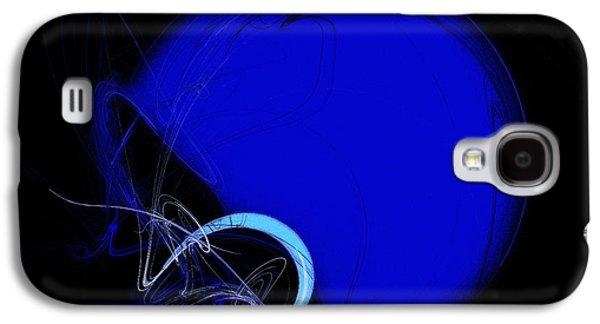 Gear Mixed Media Galaxy S4 Cases - Football Helmet Blue Fractal Art 2 Galaxy S4 Case by Andee Design