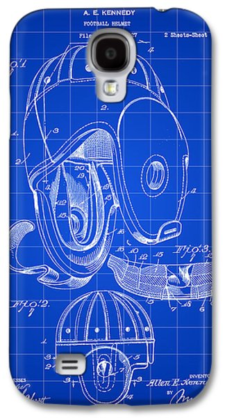 Pro Football Galaxy S4 Cases - Football Helmet Patent 1927 - Blue Galaxy S4 Case by Stephen Younts