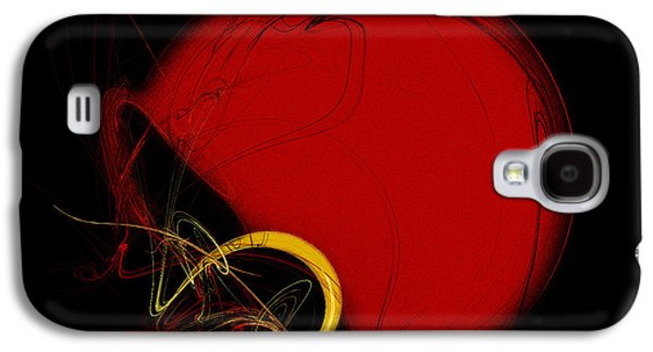 Gear Mixed Media Galaxy S4 Cases - Football Helmet Red Fractal Art 2 Galaxy S4 Case by Andee Design