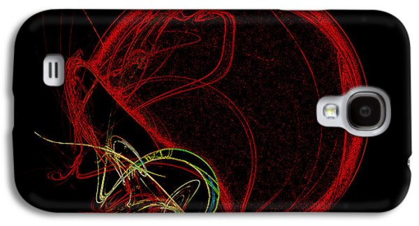 Gear Mixed Media Galaxy S4 Cases - Football Helmet Red Fractal Art Galaxy S4 Case by Andee Design