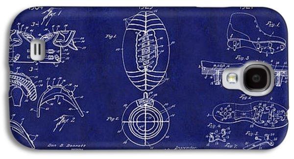 Football Patent History Blue Galaxy S4 Case by Jon Neidert