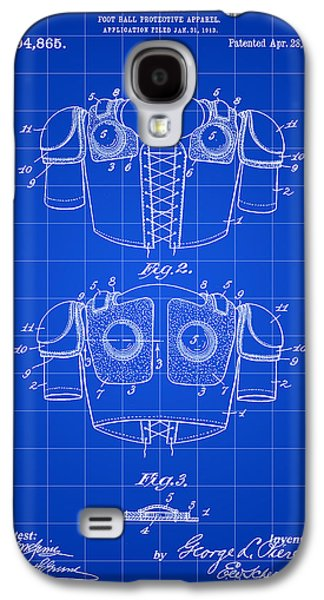 Pro Football Galaxy S4 Cases - Football Shoulder Pads Patent 1913 - Blue Galaxy S4 Case by Stephen Younts