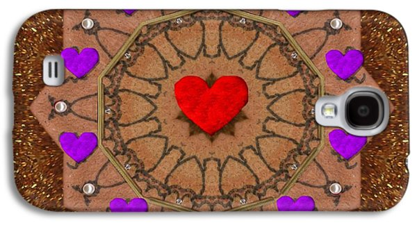 Contemplative Mixed Media Galaxy S4 Cases - For The Love of hearts Galaxy S4 Case by Pepita Selles