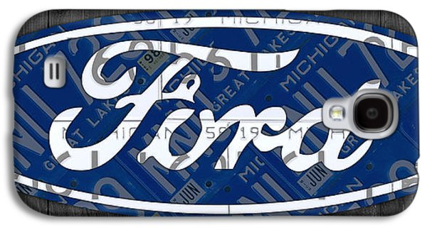 Ford Motor Company Retro Logo License Plate Art Galaxy S4 Case by Design Turnpike
