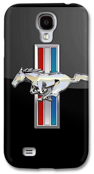 Crest Digital Art Galaxy S4 Cases - Ford Mustang - 3D Badge on Black Galaxy S4 Case by Serge Averbukh