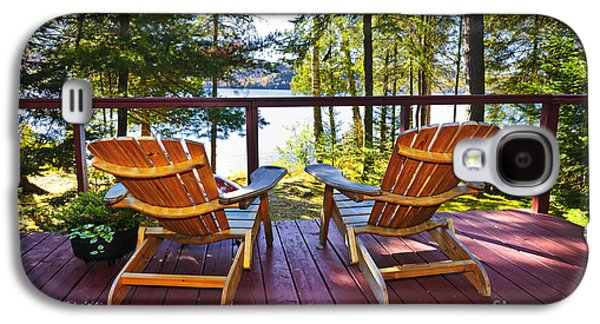 Chair Galaxy S4 Cases - Forest cottage deck and chairs Galaxy S4 Case by Elena Elisseeva