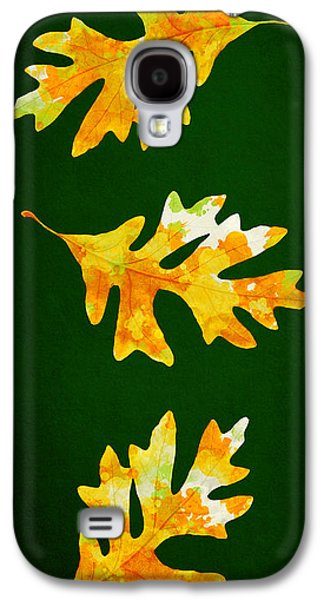 Forest Green Autumn Oak Leaf Painting Galaxy S4 Case by Christina Rollo