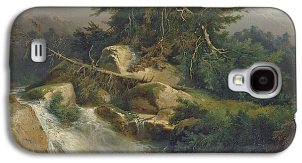 Mountainous Paintings Galaxy S4 Cases - Forest Landscape with Waterfall  Galaxy S4 Case by Julius Bakof