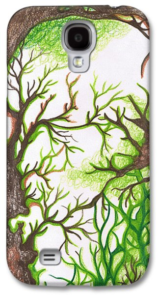 Earth Tones Drawings Galaxy S4 Cases - Forest  Galaxy S4 Case by Laura Noel