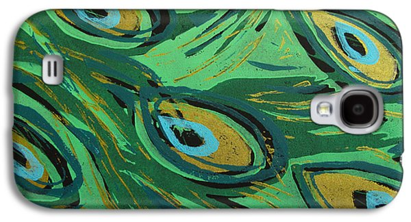 Linocut Paintings Galaxy S4 Cases - Forest Peacock Galaxy S4 Case by Jennifer Schwab