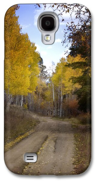 Nature Scene Digital Art Galaxy S4 Cases - Forest Road in Autumn Galaxy S4 Case by Ellen Heaverlo