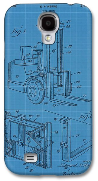 Owner Mixed Media Galaxy S4 Cases - Forklift Blueprint Patent Galaxy S4 Case by Dan Sproul