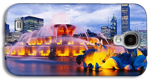 Locations Galaxy S4 Cases - Fountain Lit Up At Dusk, Buckingham Galaxy S4 Case by Panoramic Images