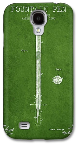 Pen Galaxy S4 Cases - Fountain Pen patent from 1884 - Green Galaxy S4 Case by Aged Pixel