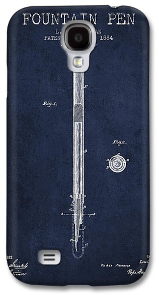 Pen Galaxy S4 Cases - Fountain Pen patent from 1884 - Navy Blue Galaxy S4 Case by Aged Pixel