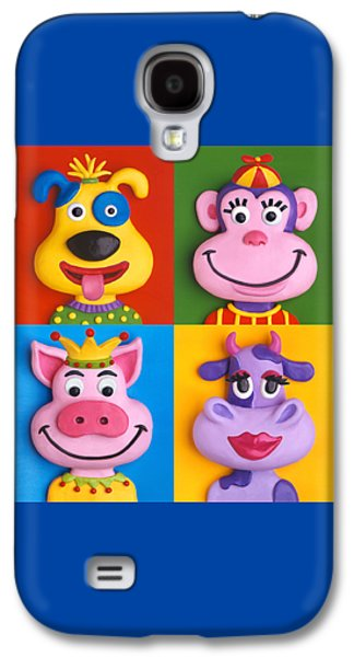 Character Portraits Sculptures Galaxy S4 Cases - Four Animal Faces Galaxy S4 Case by Amy Vangsgard